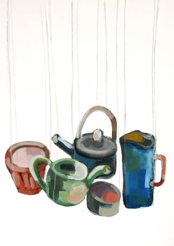 un thé à l'Imprimerie,50x70 cm, acrylique sur papier/acrylic on paper